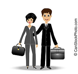 two business man and woman, vector illustration