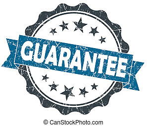 GUARANTEE blue grunge vintage seal isolated on white