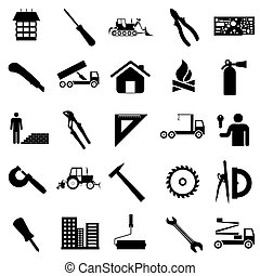Collection flat icons. Construction symbols. Vector...