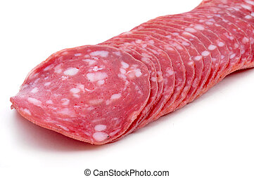 slices of salchichon, spanish cured sausage - some slices of...
