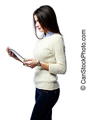 Young businesswoman holding tablet computer isolated on a white background