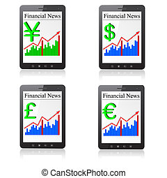 Financial News on Tablet PC. Isolated on white. Vector  illustration.