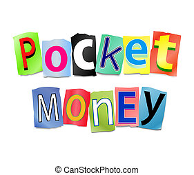Pocket money concept - Illustration depicting a set of cut...