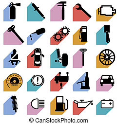 Collection flat icons with long shadow. Car symbols. Vector illustration.