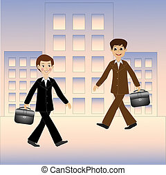 two business men hurry on work, vector illustration