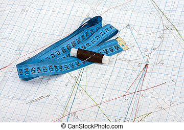 Sewing accessories with measuring tape and pattern sheet