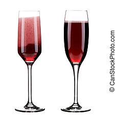 Two glasses of red champagne.
