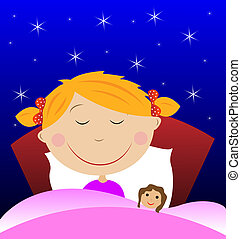 little girl sleep under blanket with doll, vector...