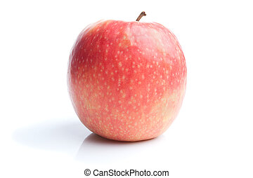 Single red apple isolated on white