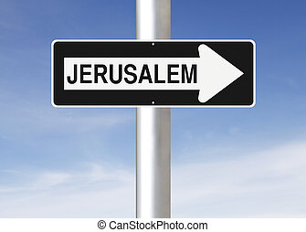 This Way to Jerusalem - A modified one way sign indicating...