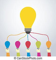teamwork - hand showing an idea bulb for big idea bulb