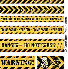 Police Line, Crime And Warning Seamless Tapes - Illustration...