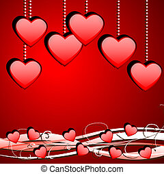 Bright red background with hearts to the day of saint...
