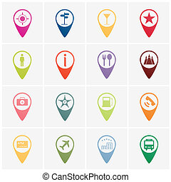 navigator icon  - set of colorful navigator icon