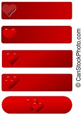Banners with heart on a red hued background on a white...