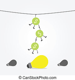 keep up - money hang from rope to keep up idea bulb