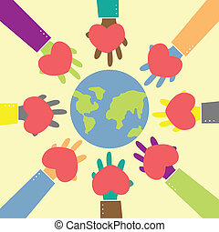 love the earth - abstract human hand give heart for hug the...