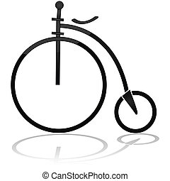 Old circus bicycle - Icon showing an old circus bicycle,...
