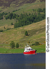 The red ship is in the harbor, Scotland - The red ship is in...