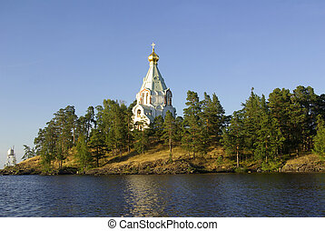 Chapel on the island of Valaam, Karelia, Russia in summer...