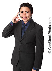 Attractive salesman on the phone - Young and attractive...