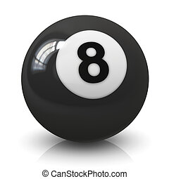 Eight billiard ball - Eight 8 billiard game ball isolated on...