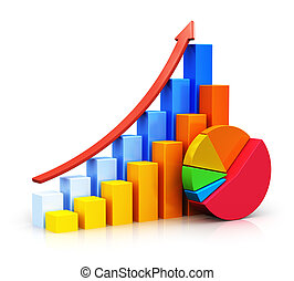 Growing bar graphs and pie chart - Creative abstract...