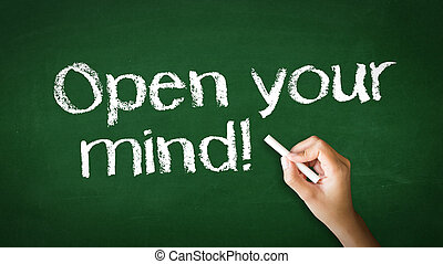 Open Your Mind Chalk Illustration - A person drawing and...