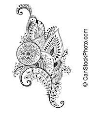 mehendi pen drawing - mehendi scetch monochrome pen drawing