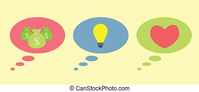 thinking a money, idea bulb and heartvector