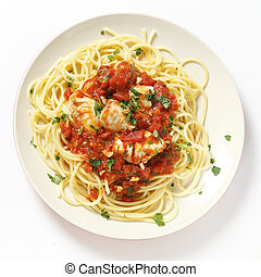 Spaghetti with fish in arrabbiata sauce from above