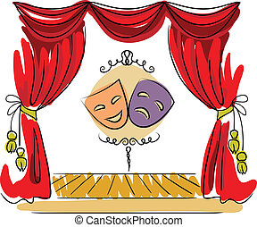 Theater stage vector illustration - Theater stage with red...