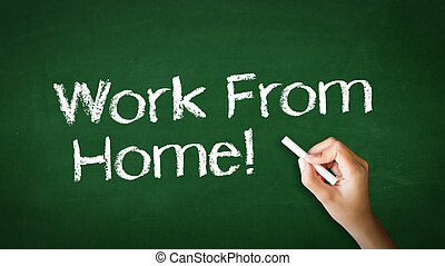 Work From Home Chalk Illustration - A person drawing and...