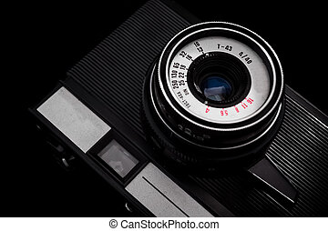detail of old retro camera, black and white