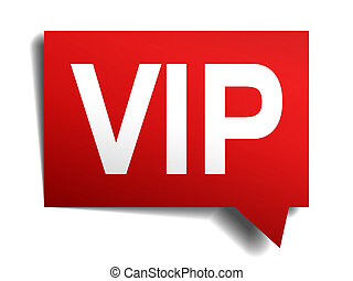 vip red red 3d realistic paper speech bubble isolated on...