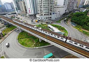 roundabout and train traffic in hong kong