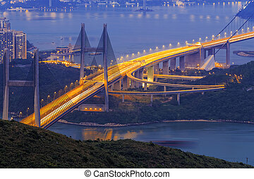 tsing ma bridge at night, Hong Kong Landmark