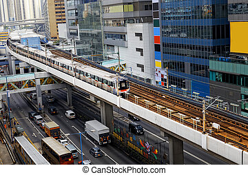 Hong Kong downtown area, Train and highway