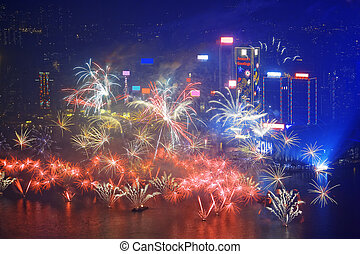 HONG KONG - 1 JANUARY, A splendid firework show and...