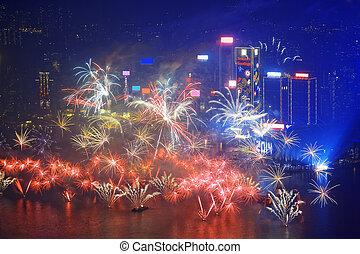 HONG KONG - 1 JANUARY, A splendid firework show and...