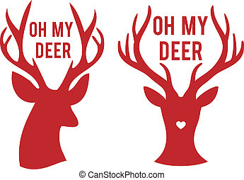 oh my deer heads, vector - oh my deer, stag heads with text,...