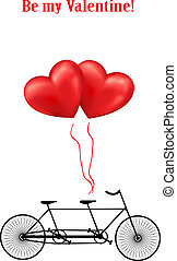 Bicycle and heart balloons background - Bicycle and heart...
