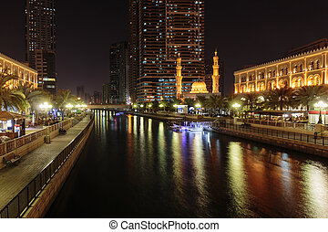 SHARJAH, UAE - OCTOBER 29, 2013: Night view of Sharjah....