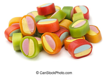 Gummy candies - Pile of colorful gummy candies isolated on...