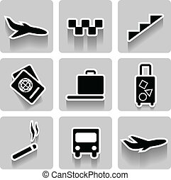 Airport vector icons collection