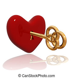 red heart with golden key - 3d red heart with golden key...