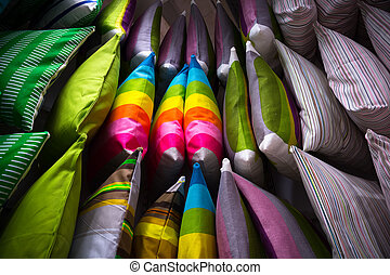 lots of colorful pillows