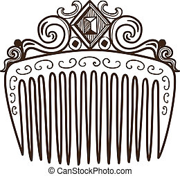 Comb with decorations - Sketch isolated on white Eps 10...