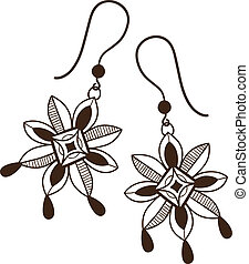 Earrings with flowers - Sketch isolated on white Eps 10...