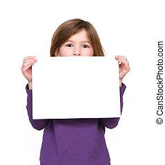 年輕, 簽署, 藏品, 空白, 肖像, 女孩